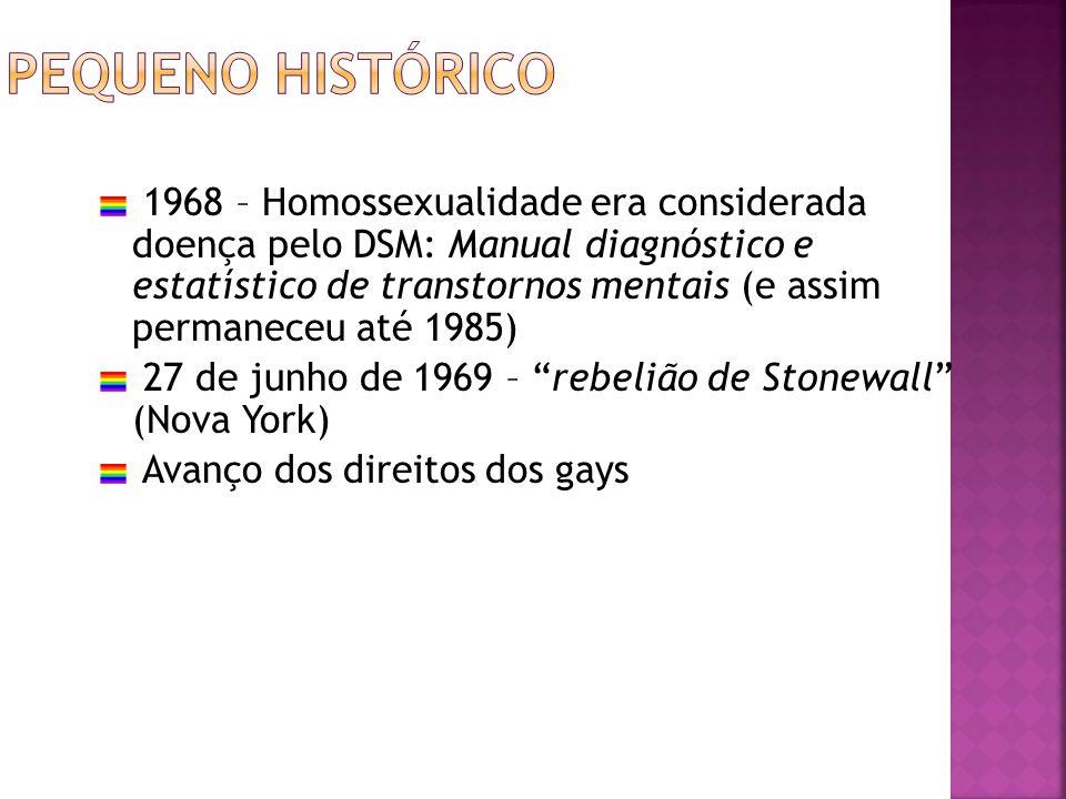 1968 – Homossexualidade era considerada doença pelo DSM: Manual diagnóstico e estatístico de transtornos mentais (e assim permaneceu até 1985) 27 de j