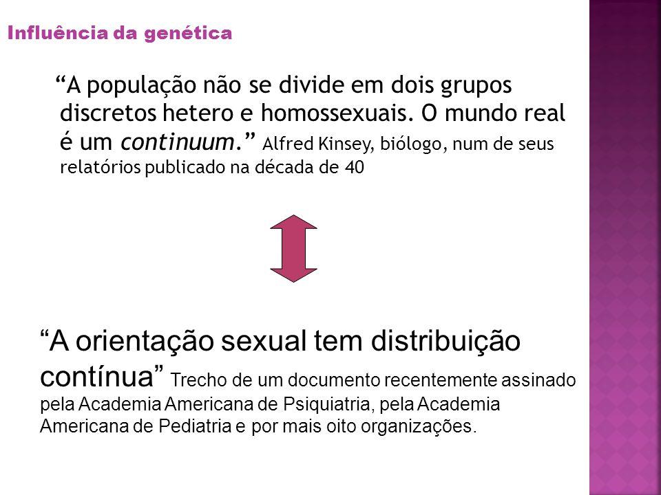 A população não se divide em dois grupos discretos hetero e homossexuais. O mundo real é um continuum. Alfred Kinsey, biólogo, num de seus relatórios