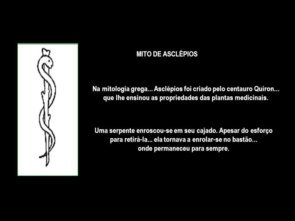 Na mitologia grega...Asclépios foi criado pelo centauro Quiron...