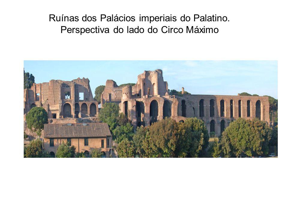Ruínas dos Palácios imperiais do Palatino. Perspectiva do lado do Circo Máximo