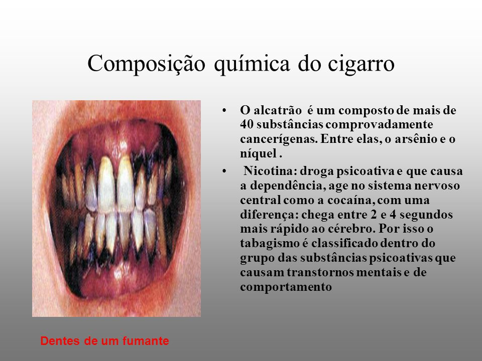 Composição química do cigarro O alcatrão é um composto de mais de 40 substâncias comprovadamente cancerígenas.