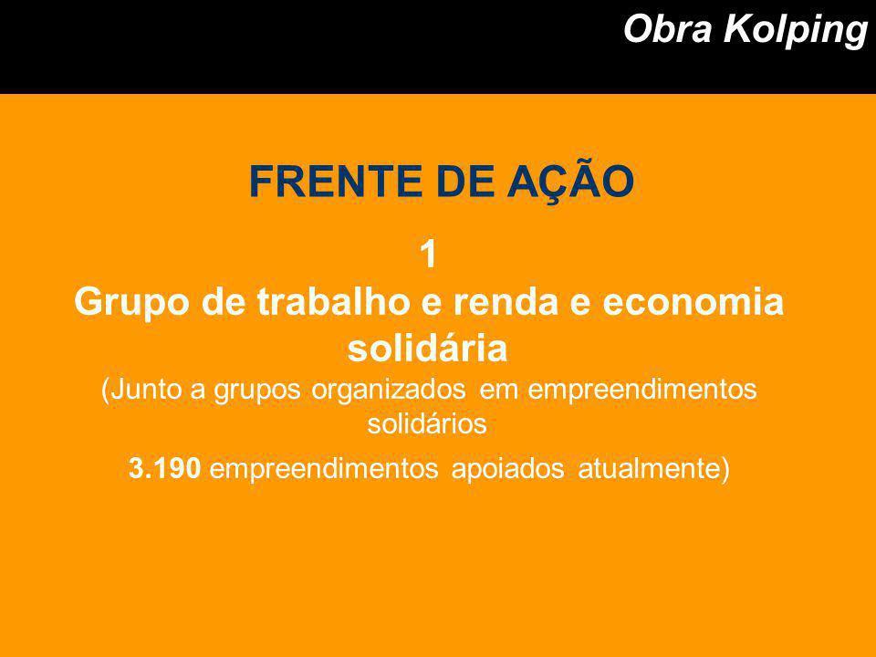 1 Grupo de trabalho e renda e economia solidária (Junto a grupos organizados em empreendimentos solidários 3.190 empreendimentos apoiados atualmente)