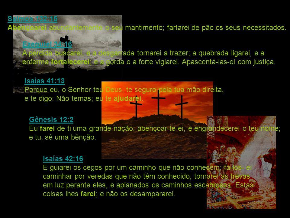 Salmos 132:15 Salmos 132:15 Abençoarei abundantemente o seu mantimento; fartarei de pão os seus necessitados. Ezequiel 34:16 Ezequiel 34:16 A perdida