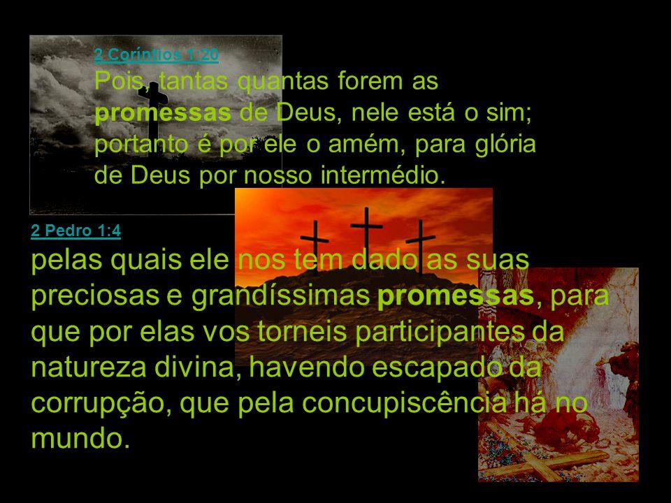 2 Coríntios 1:20 2 Coríntios 1:20 Pois, tantas quantas forem as promessas de Deus, nele está o sim; portanto é por ele o amém, para glória de Deus por