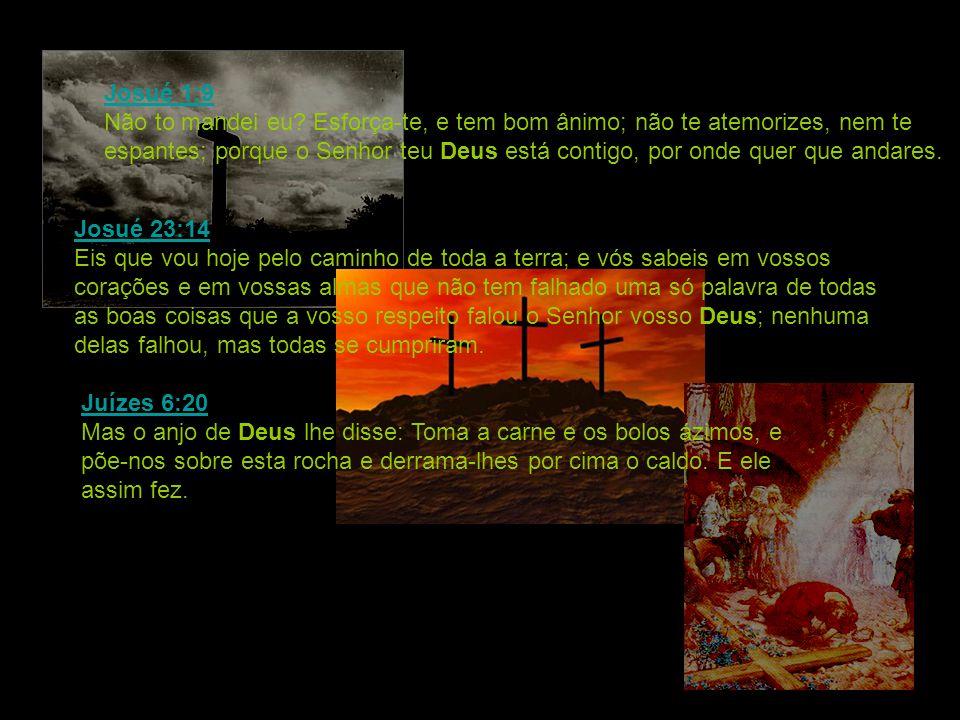 Josué 1:9 Josué 1:9 Não to mandei eu? Esforça-te, e tem bom ânimo; não te atemorizes, nem te espantes; porque o Senhor teu Deus está contigo, por onde