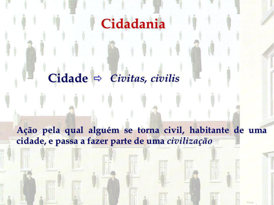 Cidadania Cidade Cidade Civitas, civilis Ação pela qual alguém se torna civil, habitante de uma cidade, e passa a fazer parte de uma civilização