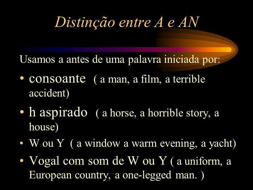 Artigo Definido e Indefinido Os artigos indefinidos são A e An.São usados somente no singular