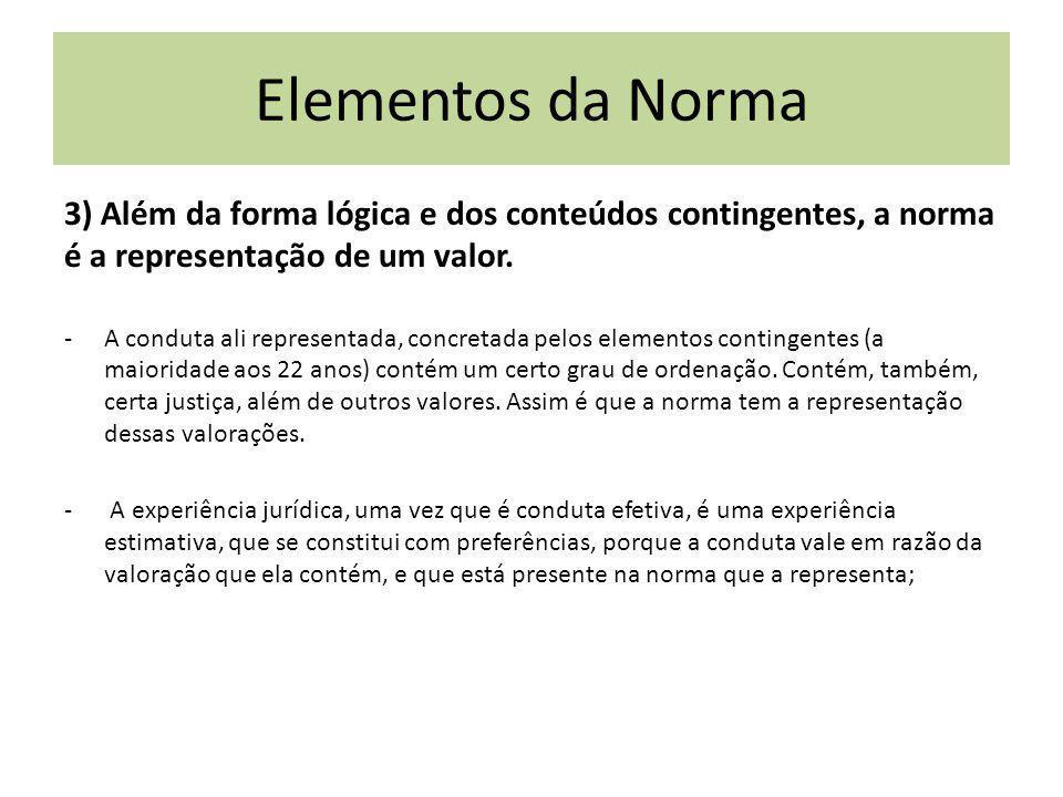 3) Além da forma lógica e dos conteúdos contingentes, a norma é a representação de um valor. -A conduta ali representada, concretada pelos elementos c