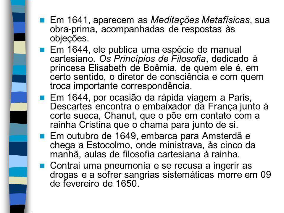 Em 1641, aparecem as Meditações Metafísicas, sua obra-prima, acompanhadas de respostas às objeções. Em 1644, ele publica uma espécie de manual cartesi