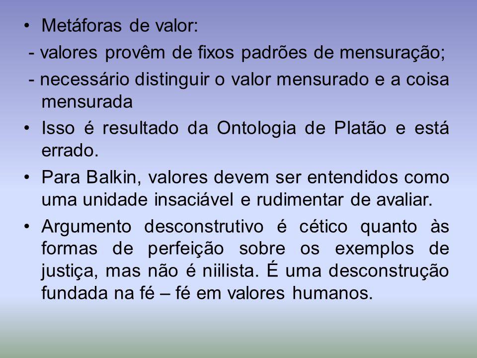 Metáforas de valor: - valores provêm de fixos padrões de mensuração; - necessário distinguir o valor mensurado e a coisa mensurada Isso é resultado da Ontologia de Platão e está errado.
