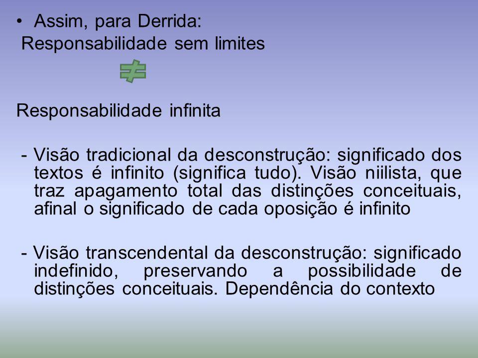 Assim, para Derrida: Responsabilidade sem limites Responsabilidade infinita - Visão tradicional da desconstrução: significado dos textos é infinito (significa tudo).