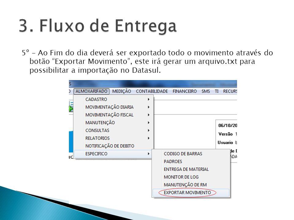 5º - Ao Fim do dia deverá ser exportado todo o movimento através do botão Exportar Movimento, este irá gerar um arquivo.txt para possibilitar a import