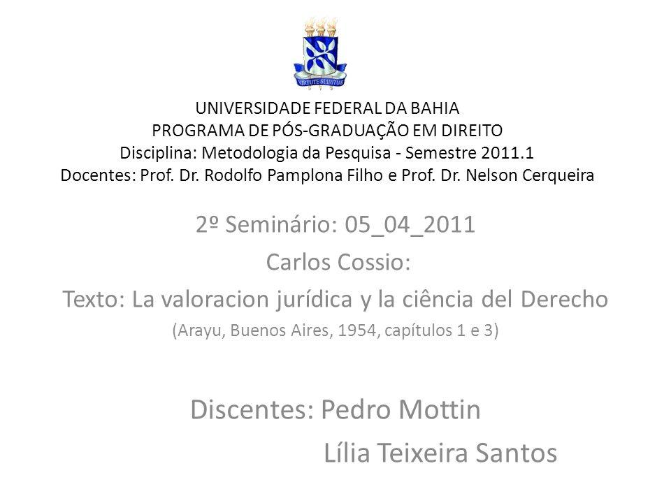 UNIVERSIDADE FEDERAL DA BAHIA PROGRAMA DE PÓS-GRADUAÇÃO EM DIREITO Disciplina: Metodologia da Pesquisa - Semestre 2011.1 Docentes: Prof. Dr. Rodolfo P