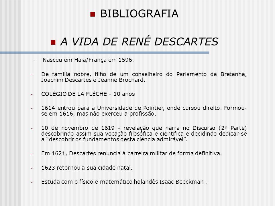 BIBLIOGRAFIA A VIDA DE RENÉ DESCARTES - 1637, publicou seus tratados científicos: a Dióptrica, os Meteoros e a Geometria, que tem como introdução o Discurso do método, no qual pretende apresentar e defender o método aplicado nesses tratados.