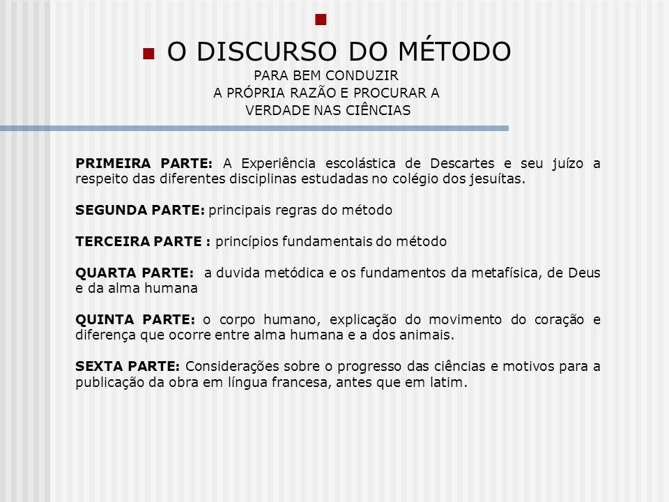 PRIMEIRA PARTE A EXPERIENCIA ESCOLASTICA DE DESCARTES E A DESCOBERTA DA NECESSIDADE DE UM MÉTODO RIGOROSO 1 Necessidade do método.