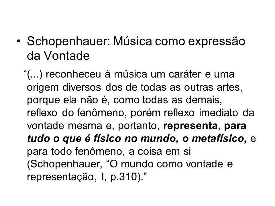 Schopenhauer: Música como expressão da Vontade (...) reconheceu à música um caráter e uma origem diversos dos de todas as outras artes, porque ela não