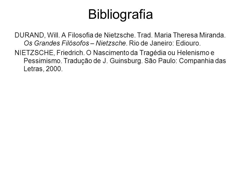 Bibliografia DURAND, Will. A Filosofia de Nietzsche. Trad. Maria Theresa Miranda. Os Grandes Filósofos – Nietzsche. Rio de Janeiro: Ediouro. NIETZSCHE