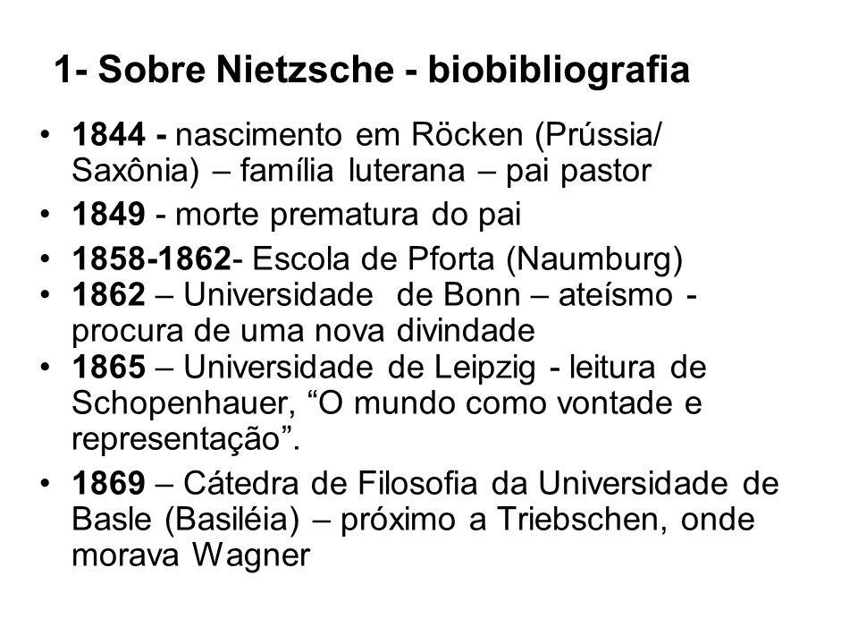 1- Sobre Nietzsche - biobibliografia 1844 - nascimento em Röcken (Prússia/ Saxônia) – família luterana – pai pastor 1849 - morte prematura do pai 1858