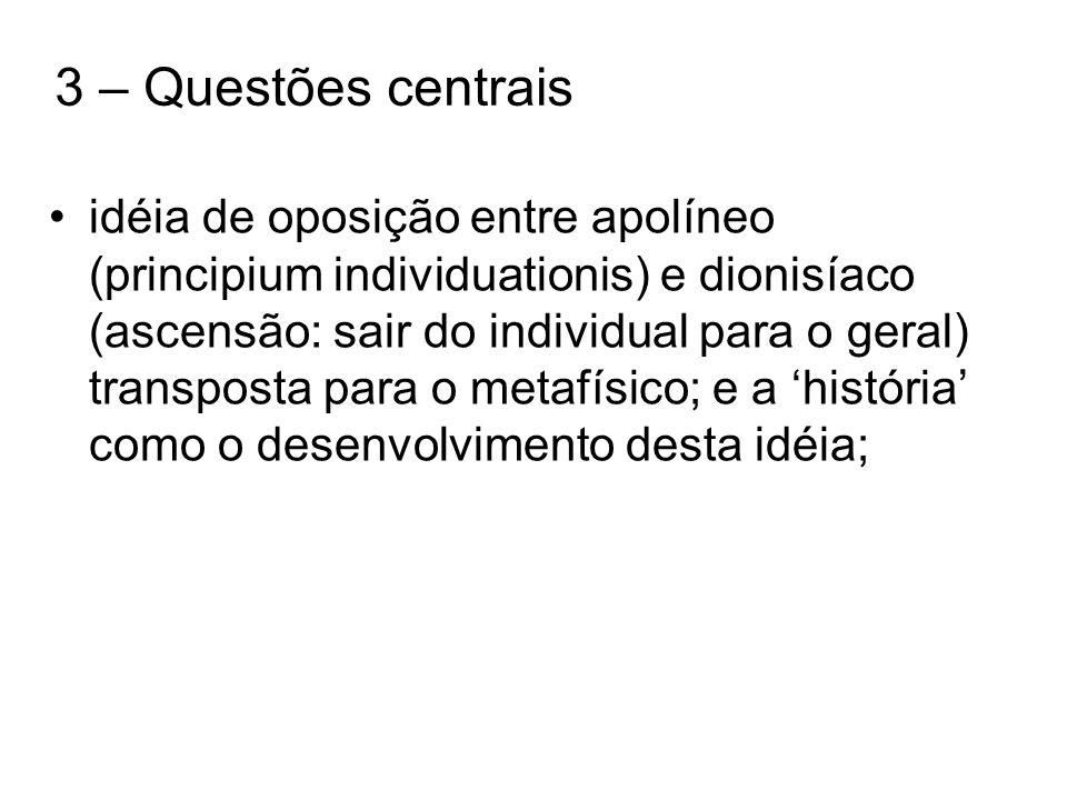 3 – Questões centrais idéia de oposição entre apolíneo (principium individuationis) e dionisíaco (ascensão: sair do individual para o geral) transpost