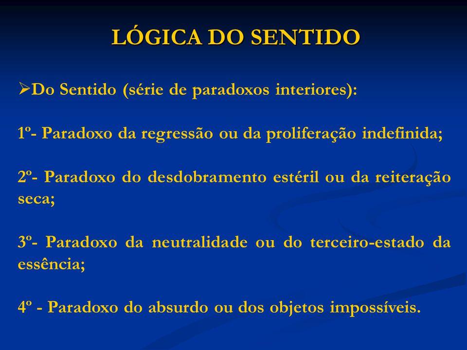 LÓGICA DO SENTIDO Do Sentido (série de paradoxos interiores): 1º- Paradoxo da regressão ou da proliferação indefinida; 2º- Paradoxo do desdobramento e