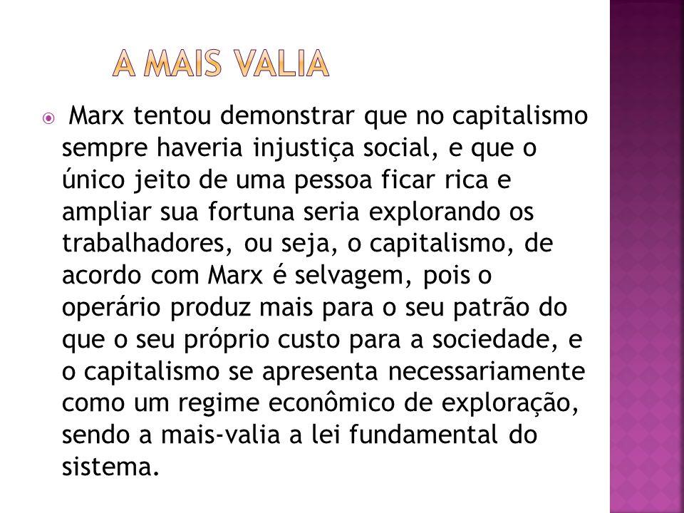 Marx tentou demonstrar que no capitalismo sempre haveria injustiça social, e que o único jeito de uma pessoa ficar rica e ampliar sua fortuna seria ex