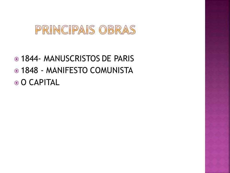 1844- MANUSCRISTOS DE PARIS 1848 - MANIFESTO COMUNISTA O CAPITAL