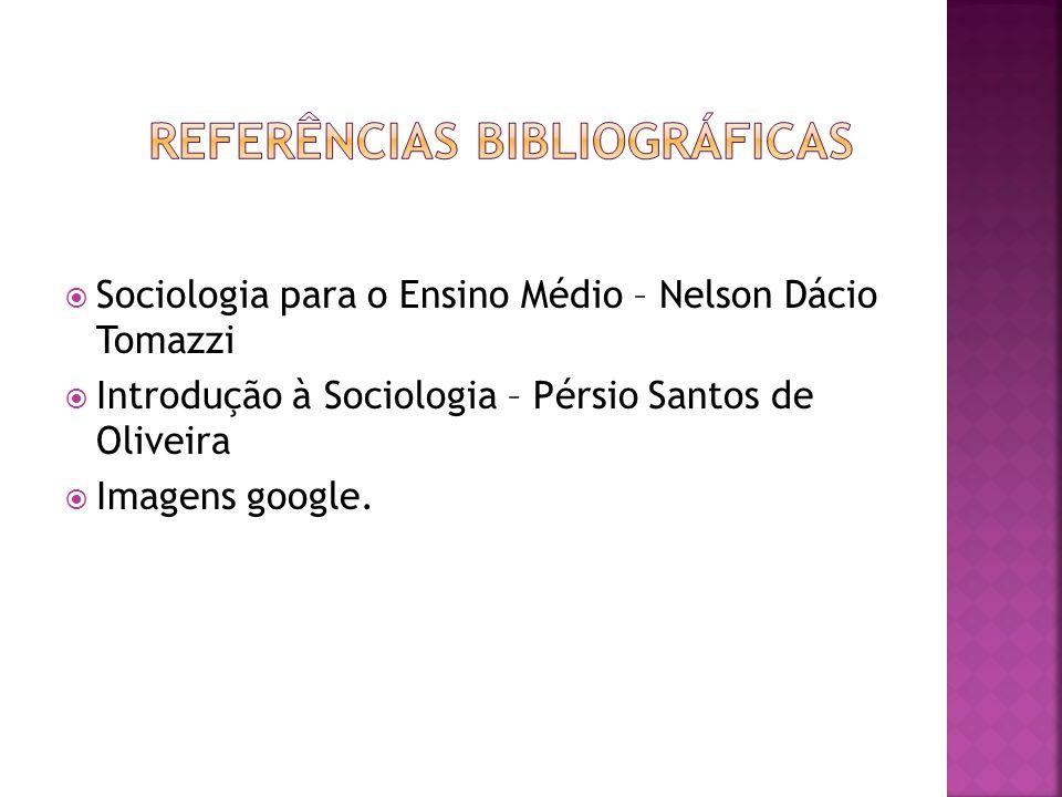 Sociologia para o Ensino Médio – Nelson Dácio Tomazzi Introdução à Sociologia – Pérsio Santos de Oliveira Imagens google.