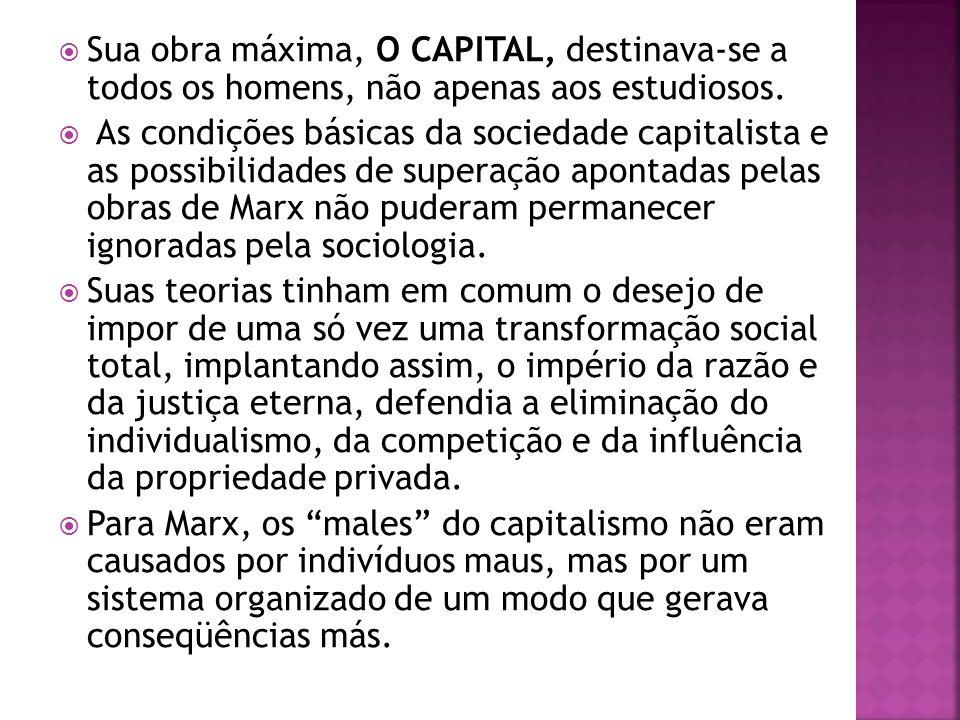 Sua obra máxima, O CAPITAL, destinava-se a todos os homens, não apenas aos estudiosos. As condições básicas da sociedade capitalista e as possibilidad
