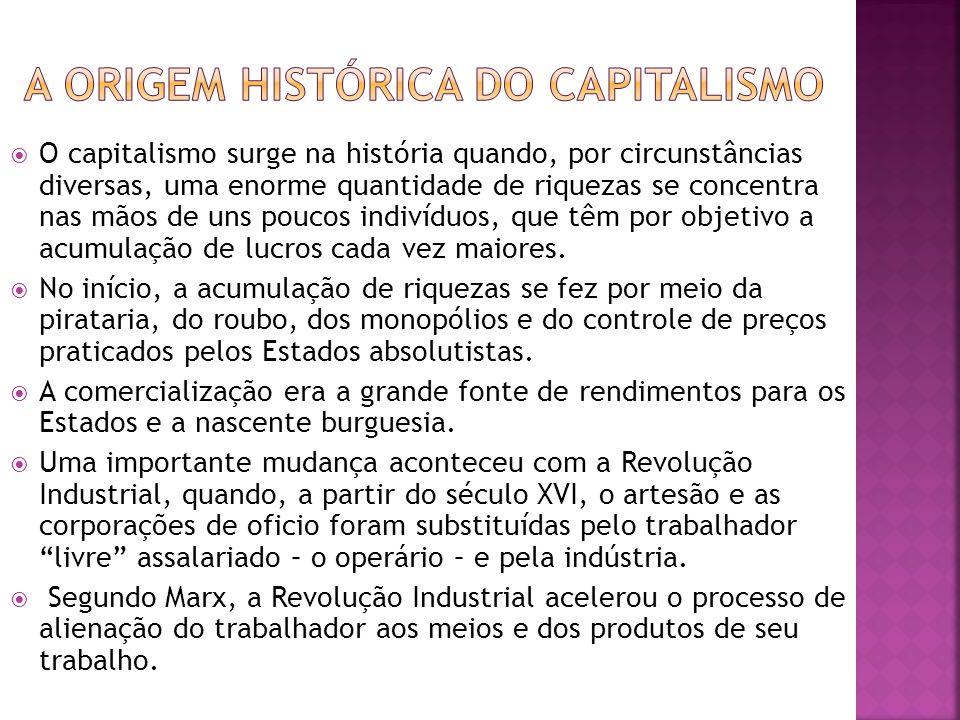 O capitalismo surge na história quando, por circunstâncias diversas, uma enorme quantidade de riquezas se concentra nas mãos de uns poucos indivíduos, que têm por objetivo a acumulação de lucros cada vez maiores.