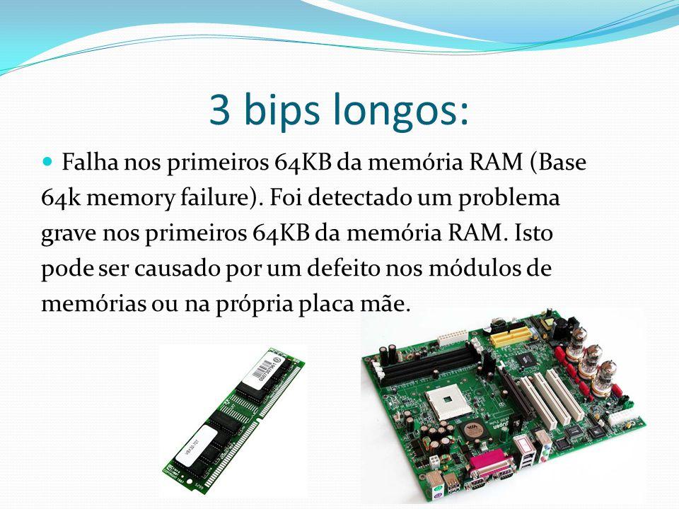 3 bips longos: Falha nos primeiros 64KB da memória RAM (Base 64k memory failure). Foi detectado um problema grave nos primeiros 64KB da memória RAM. I