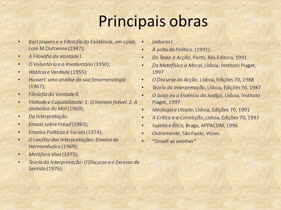 Principais obras Karl Jaspers e a Filosofia da Existência, em colab. com M.Dufrenne (1947); A Filosofia da Vontade I. O Voluntário e o Involuntário (1