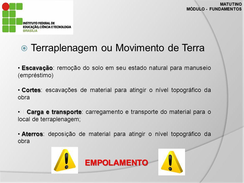 MATUTINO MÓDULO - FUNDAMENTOS Terraplenagem ou Movimento de Terra Escavação Escavação: remoção do solo em seu estado natural para manuseio (empréstimo
