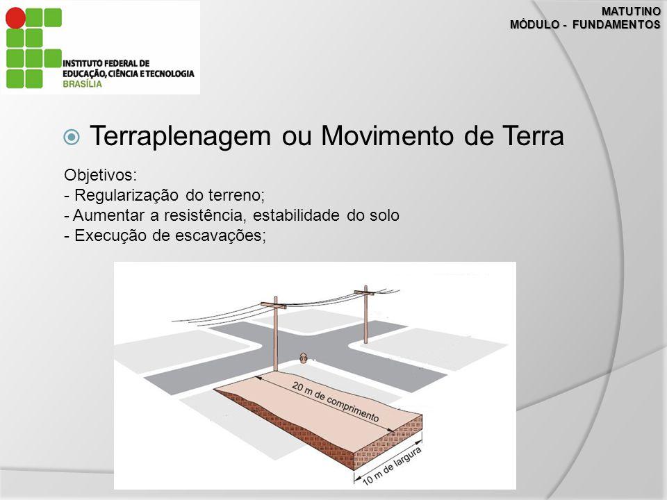 MATUTINO MÓDULO - FUNDAMENTOS Terraplenagem ou Movimento de Terra Objetivos: - Regularização do terreno; - Aumentar a resistência, estabilidade do solo - Execução de escavações;