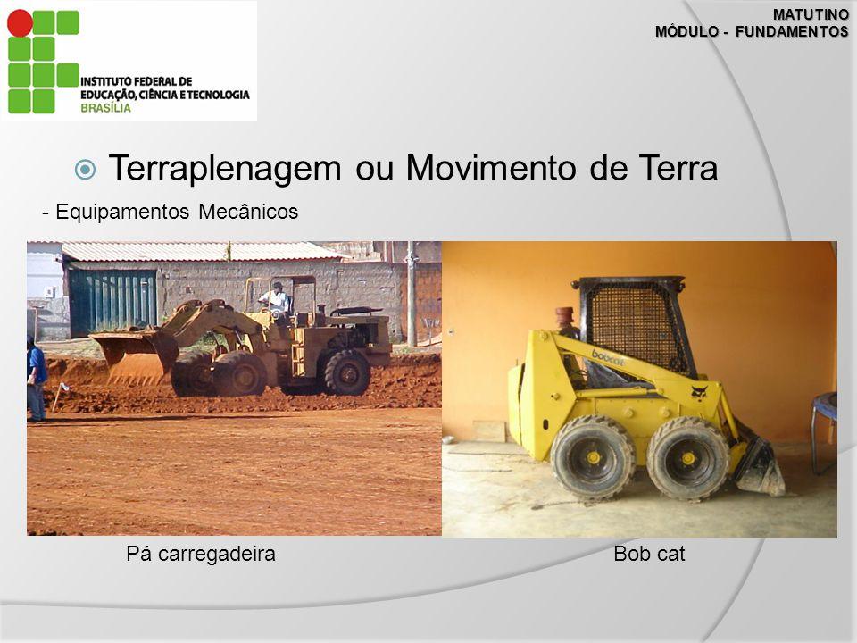 MATUTINO MÓDULO - FUNDAMENTOS Terraplenagem ou Movimento de Terra - Equipamentos Mecânicos Pá carregadeiraBob cat
