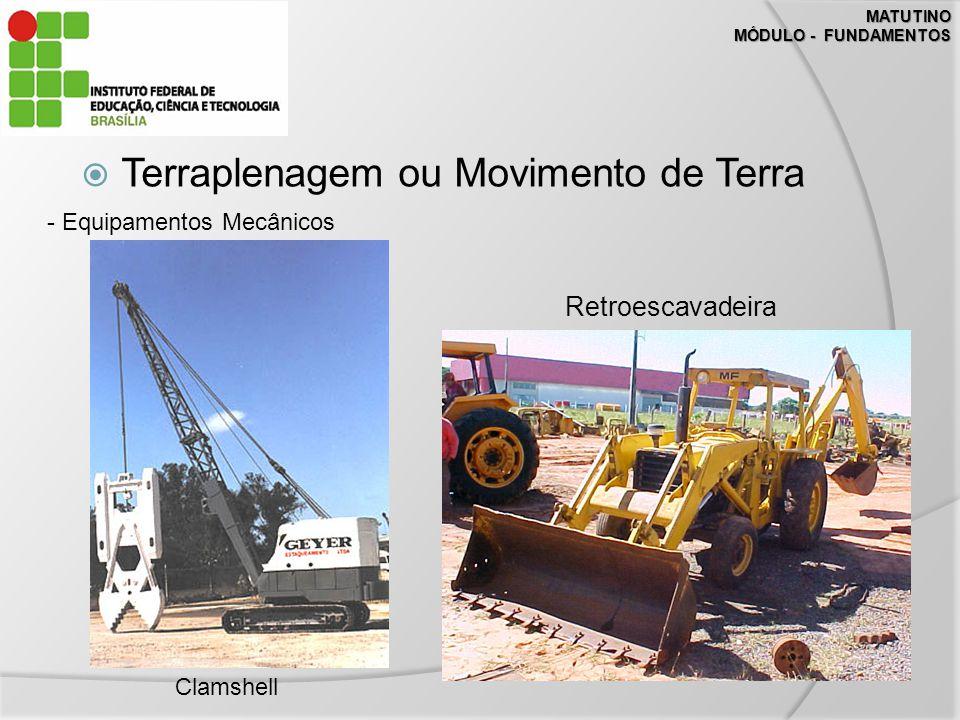 MATUTINO MÓDULO - FUNDAMENTOS Terraplenagem ou Movimento de Terra - Equipamentos Mecânicos Clamshell Retroescavadeira