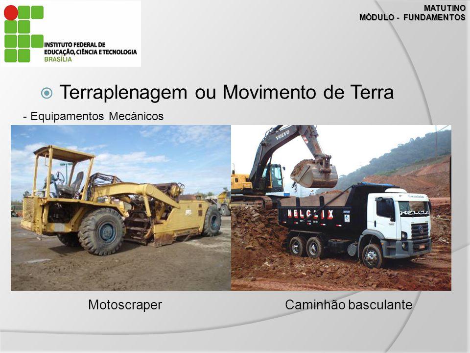 MATUTINO MÓDULO - FUNDAMENTOS Terraplenagem ou Movimento de Terra - Equipamentos Mecânicos MotoscraperCaminhão basculante