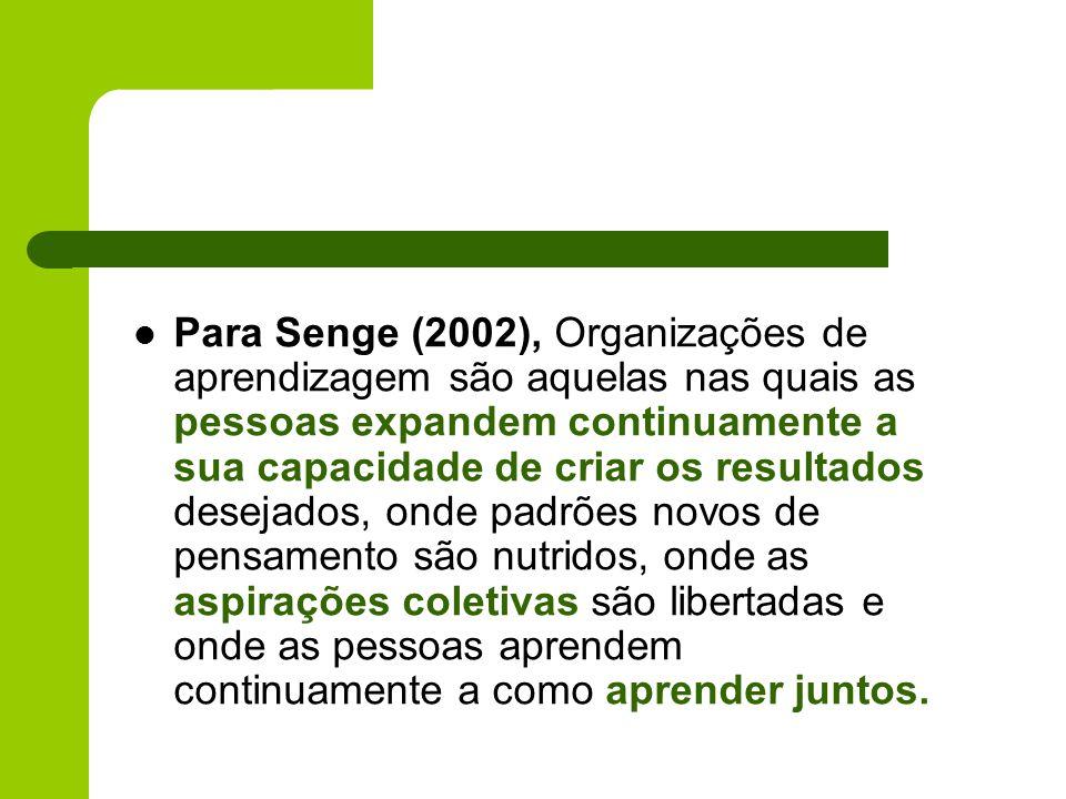 Para Senge (2002), Organizações de aprendizagem são aquelas nas quais as pessoas expandem continuamente a sua capacidade de criar os resultados deseja