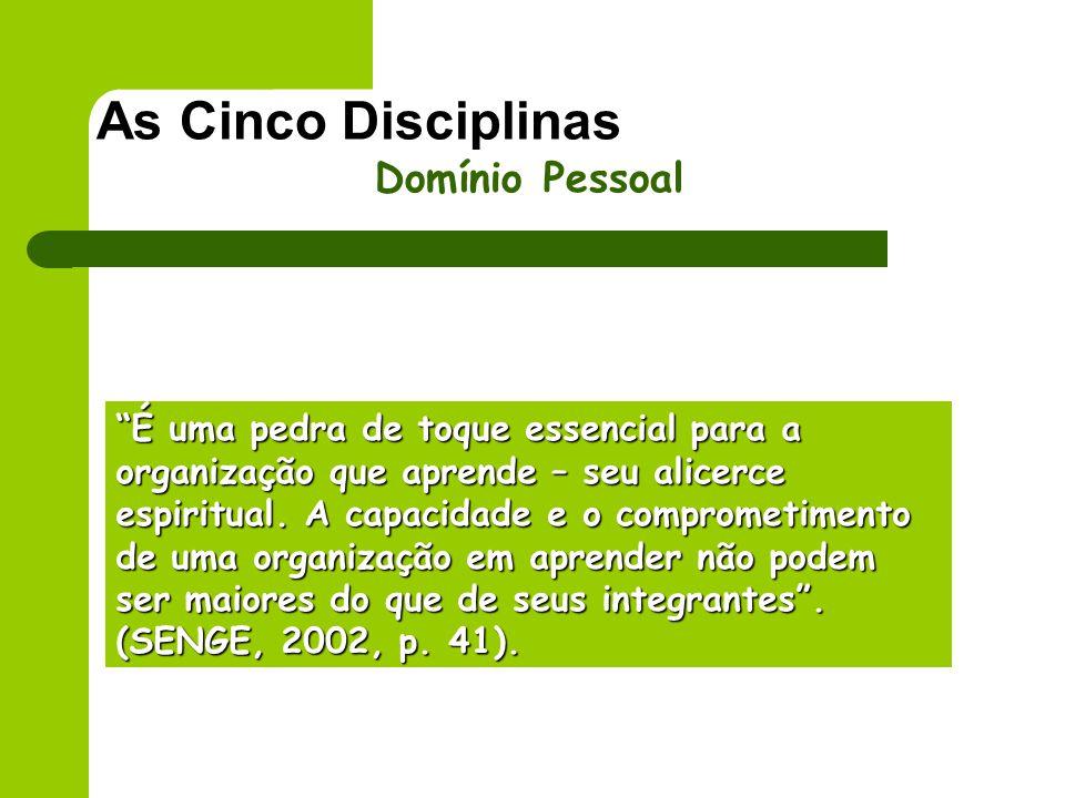 As Cinco Disciplinas Domínio Pessoal É uma pedra de toque essencial para a organização que aprende – seu alicerce espiritual. A capacidade e o comprom