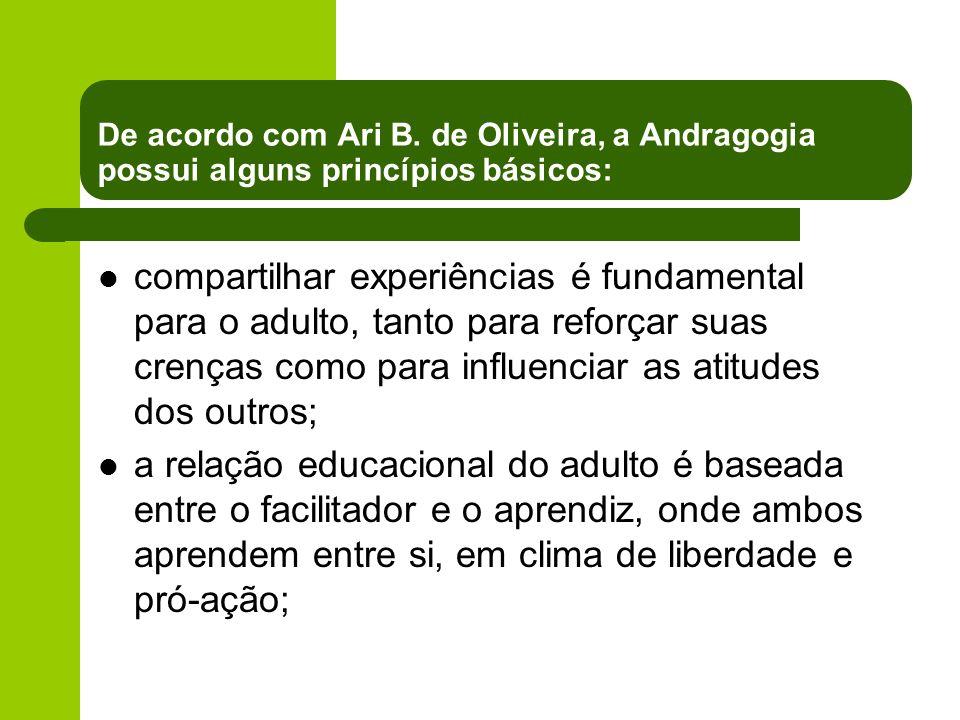 De acordo com Ari B. de Oliveira, a Andragogia possui alguns princípios básicos: compartilhar experiências é fundamental para o adulto, tanto para ref