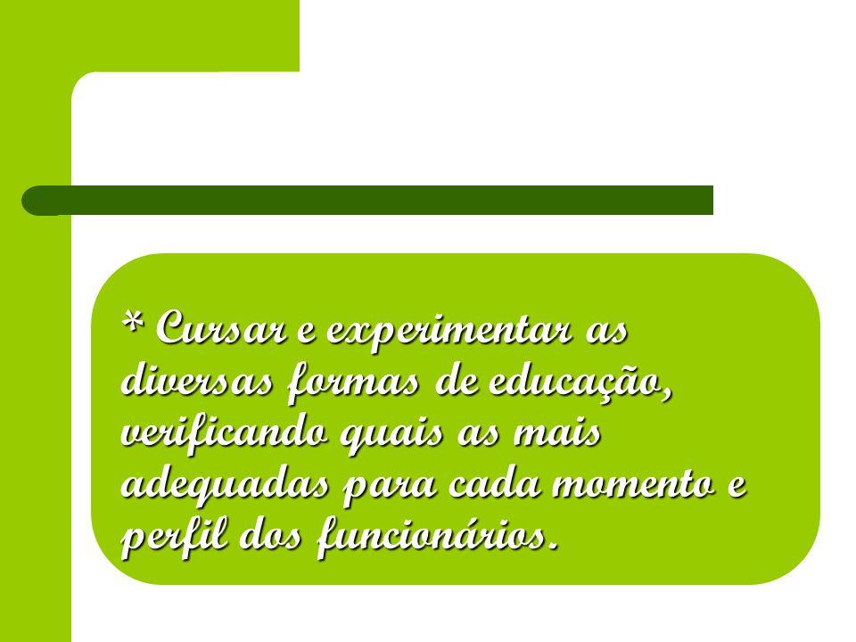 * Cursar e experimentar as diversas formas de educação, verificando quais as mais adequadas para cada momento e perfil dos funcionários.