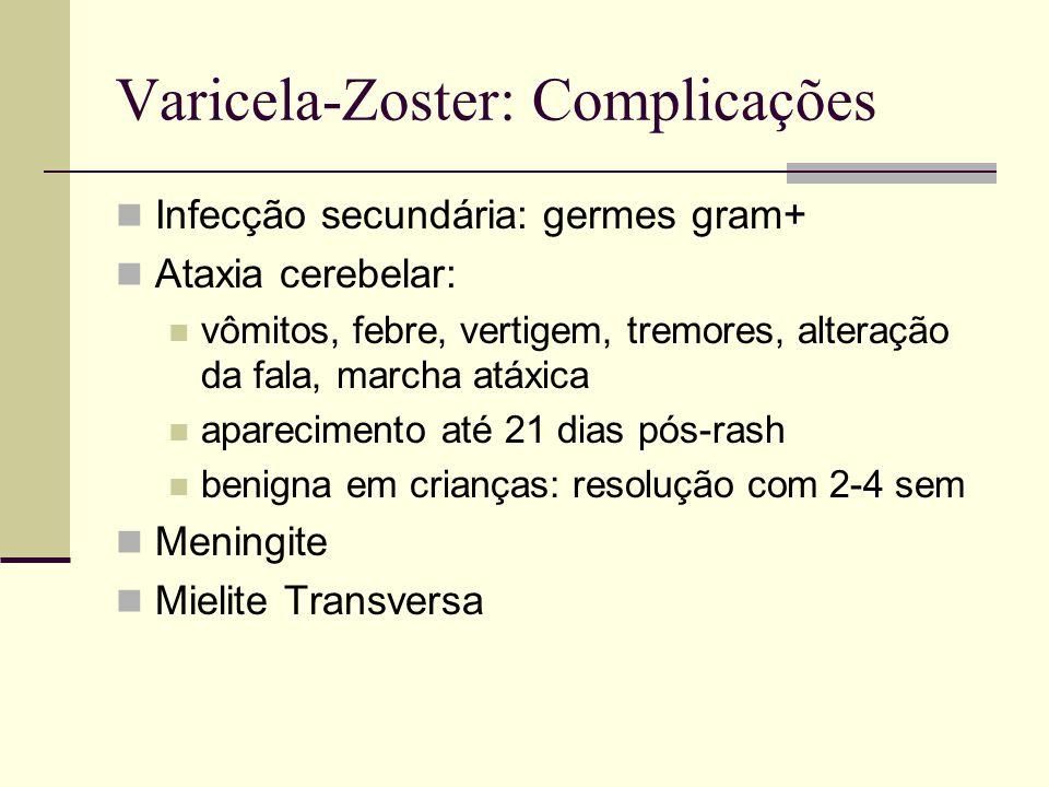 Varicela-Zoster: Complicações Infecção secundária: germes gram+ Ataxia cerebelar: vômitos, febre, vertigem, tremores, alteração da fala, marcha atáxic
