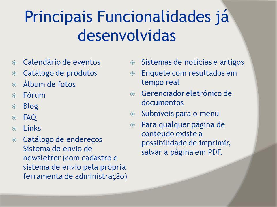 Principais Funcionalidades já desenvolvidas Calendário de eventos Catálogo de produtos Álbum de fotos Fórum Blog FAQ Links Catálogo de endereços Siste