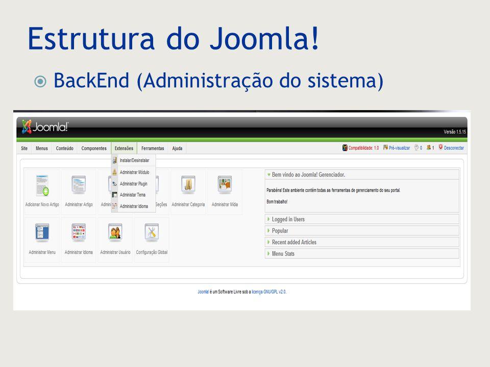 Estrutura do Joomla! BackEnd (Administração do sistema)