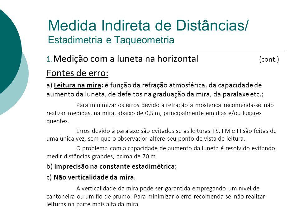 Medida Indireta de Distâncias/ Estadimetria e Taqueometria 2.