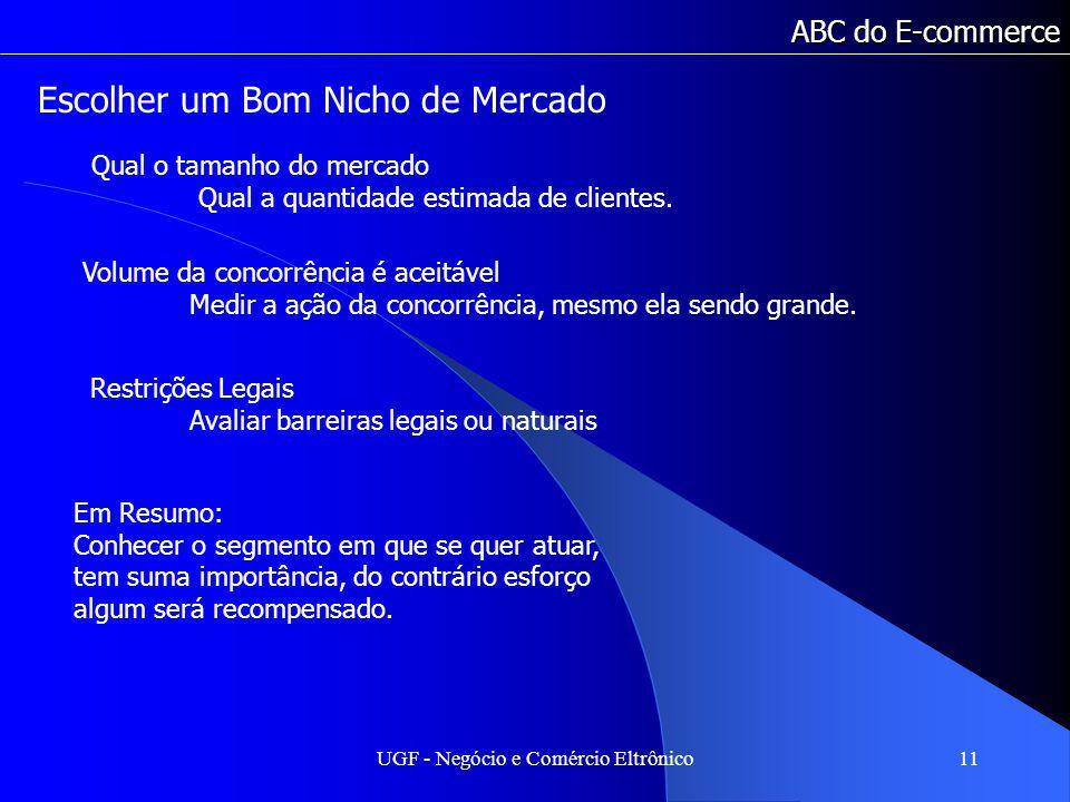 UGF - Negócio e Comércio Eltrônico11 ABC do E-commerce Qual o tamanho do mercado Qual a quantidade estimada de clientes.