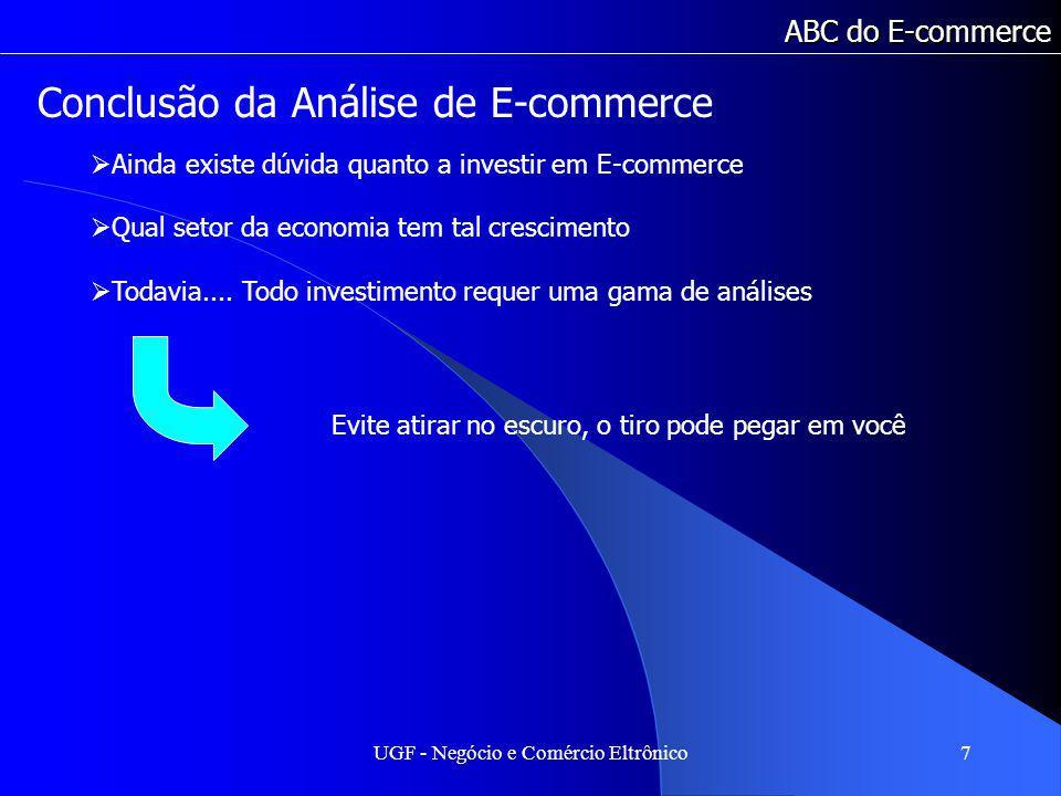 UGF - Negócio e Comércio Eltrônico8 ABC do E-commerce Os Quatro Segredos 1.Escolher um Bom Nicho de Mercado 2.Planejar muito bem seu Negócio 3.Montar uma Loja Virtual eficaz 4.Trazer muitos visitantes para a Loja
