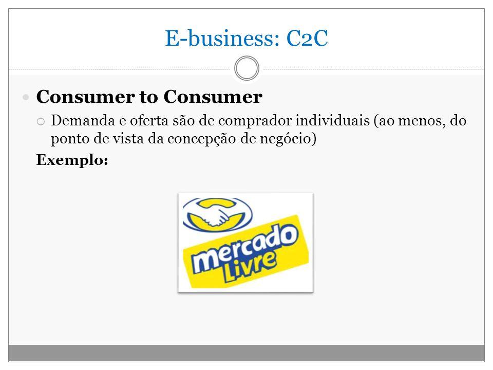 E-business: C2C Consumer to Consumer Demanda e oferta são de comprador individuais (ao menos, do ponto de vista da concepção de negócio) Exemplo: