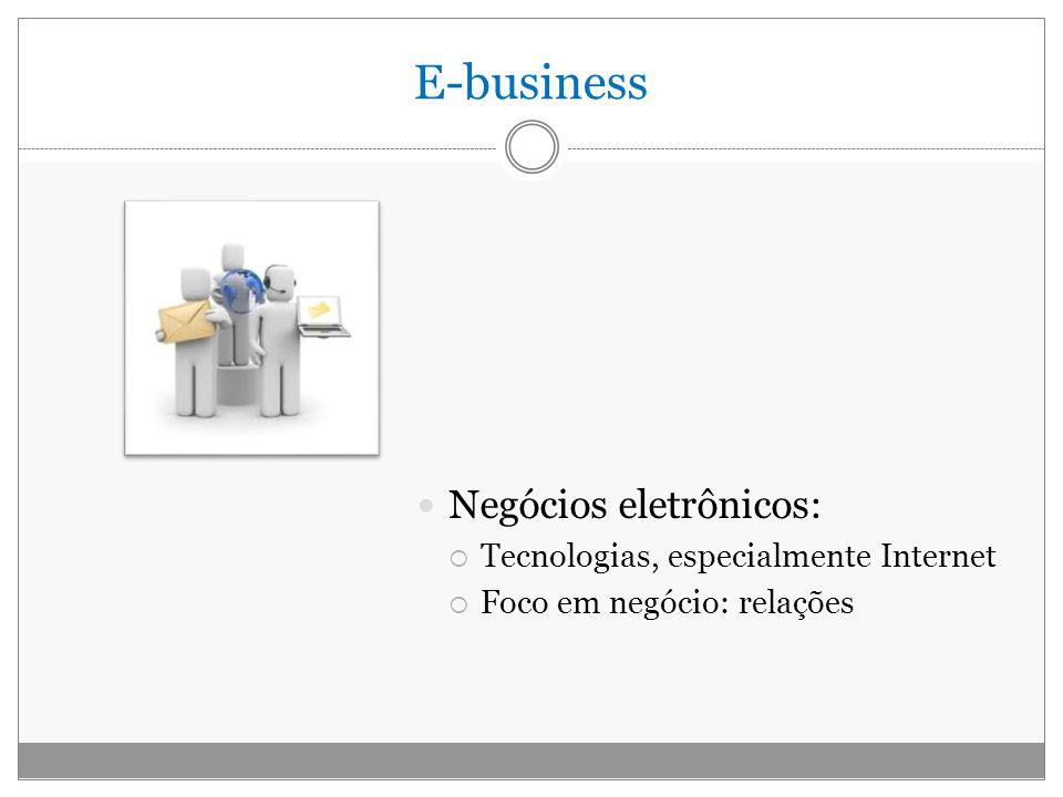 E-business Negócios eletrônicos: Tecnologias, especialmente Internet Foco em negócio: relações