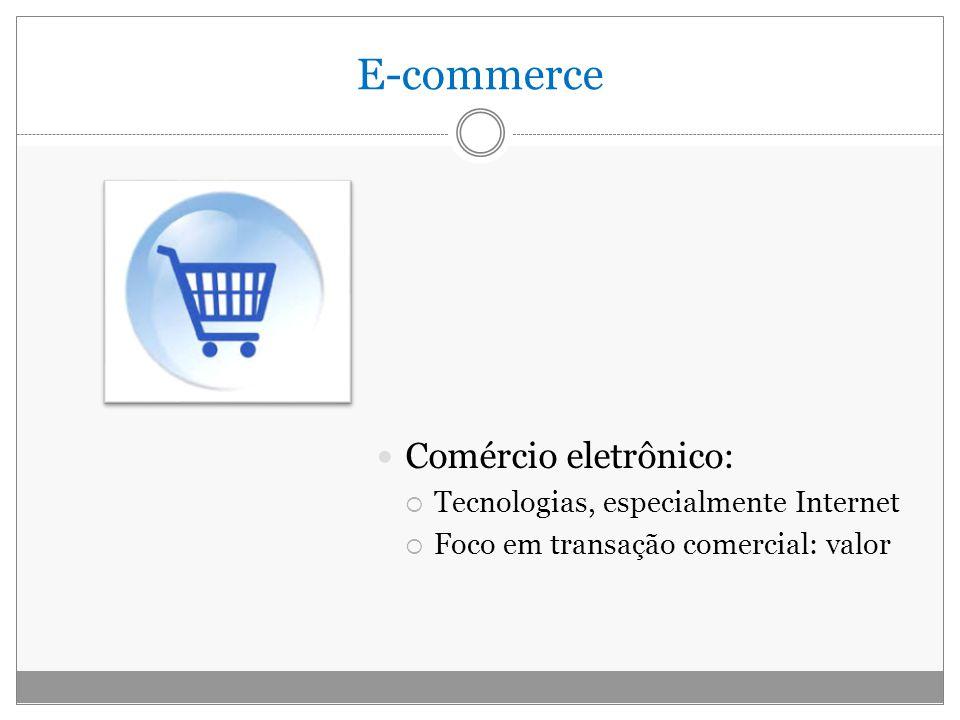 E-commerce Comércio eletrônico: Tecnologias, especialmente Internet Foco em transação comercial: valor