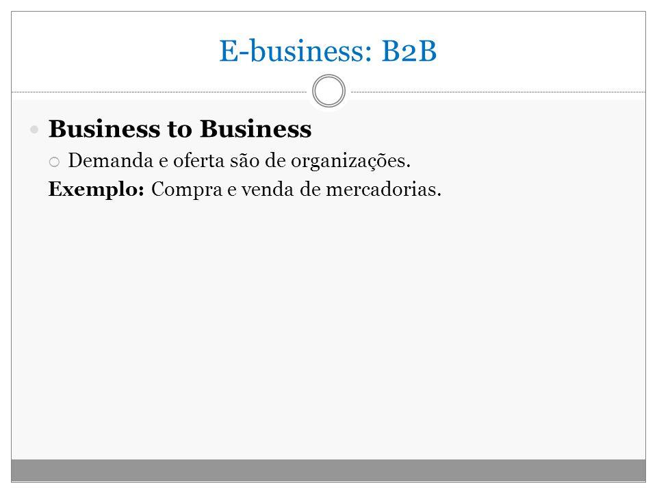 E-business: B2B Business to Business Demanda e oferta são de organizações. Exemplo: Compra e venda de mercadorias.